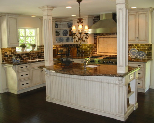 Cream glazed cabinets houzz - How to glaze kitchen cabinets cream ...