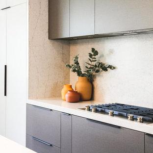 Foto på ett stort funkis vit kök, med en undermonterad diskho, släta luckor, grå skåp, bänkskiva i kvarts, vitt stänkskydd, stänkskydd i sten, integrerade vitvaror, mellanmörkt trägolv, en köksö och svart golv