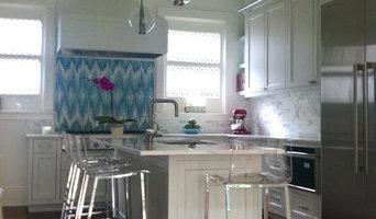 Custom Kitchen with unique backsplash.