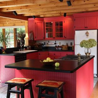 Custom Log Red Kitchen
