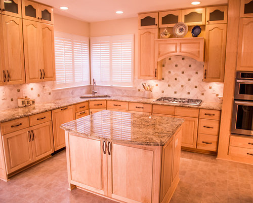 Best Pink Kitchen With Light Wood Cabinets Design Ideas