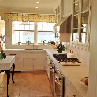 Kitchen   Traditional L Shaped Travertine Floor Kitchen Idea In New York  With Recessed