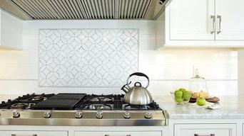 Custom Marble Waterjet Inlay with Handmade Ceramic Field Tile