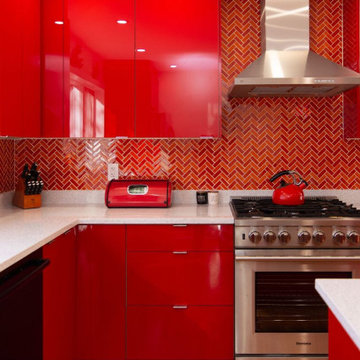 Custom Red Lacquer Kitchen