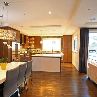 Minimalist open concept kitchen photo in Vancouver