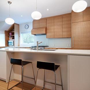 Imagen de cocina comedor de galera, minimalista, con fregadero bajoencimera, armarios con paneles lisos, puertas de armario de madera clara, salpicadero blanco, salpicadero de vidrio templado, electrodomésticos de acero inoxidable, suelo de madera clara y una isla