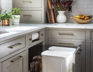 Custom trash pullout with extra storage bin