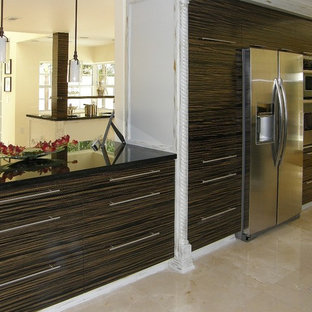 """""""zebra wood cabinets"""". clear all · Large modern eat-in kitchen photos - Large minimalist u-shaped eat-in"""