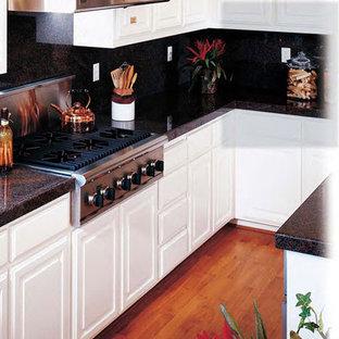 シカゴの小さいシャビーシック調のおしゃれなキッチン (レイズドパネル扉のキャビネット、白いキャビネット、御影石カウンター、黒いキッチンパネル、石スラブのキッチンパネル、シルバーの調理設備の、無垢フローリング) の写真