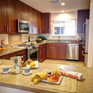 Kitchen ideas - Example of an u-shaped kitchen design in Hawaii with stainless steel appliances