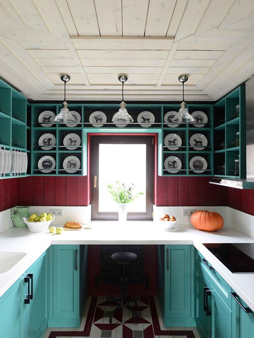 Kitchen design ideas renovations photos with red for Red and green kitchen ideas