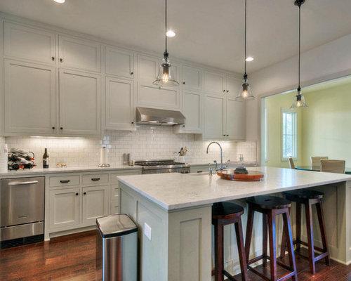 Elegant Kitchen Photo In Austin With Subway Tile Backsplash, Stainless  Steel Appliances, Shaker Cabinets