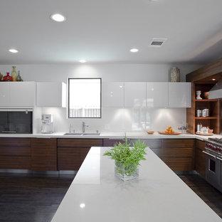 Foto di una cucina design con elettrodomestici in acciaio inossidabile, lavello a doppia vasca, ante lisce, paraspruzzi bianco e paraspruzzi con lastra di vetro