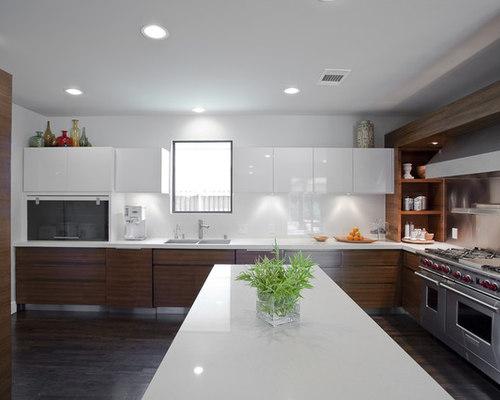 Dark Lower Cabinets White Upper | Houzz