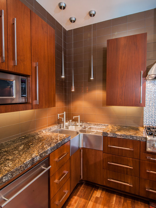 example of a trendy galley eat in kitchen design in dallas with a farmhouse sink - Corner Sinks For Kitchens