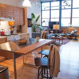 他の地域のインダストリアルスタイルのおしゃれなLDK (ルーバー扉のキャビネット、中間色木目調キャビネット、ステンレスカウンター、白い調理設備) の写真