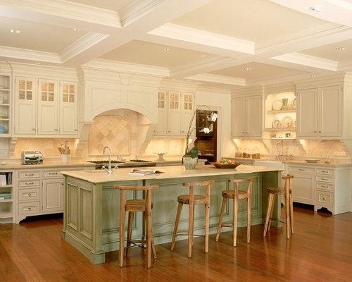 White kitchen design ideas remodels photos with beige for Off white kitchen designs