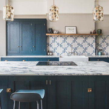 Dark Blue Geometric Kitchen