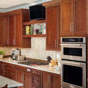 Dark Cherry Transitional kitchen