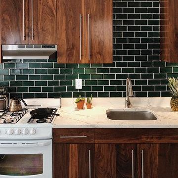 Dark Green Tile Backsplash