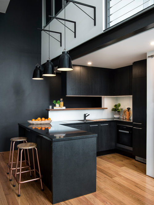 Kitchen design ideas renovations photos with black for Flat black kitchen cabinets