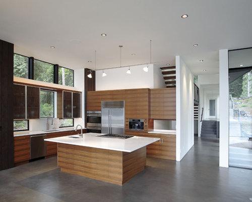Modern Kitchen Idea In Seattle With An Undermount Sink, Flat Panel  Cabinets, Medium Design