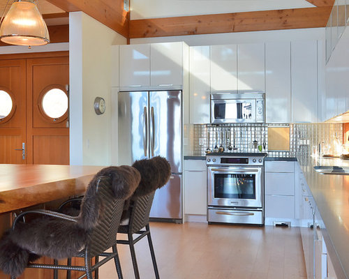 Example Of A Trendy Kitchen Design In Vancouver With Stainless Steel  Appliances