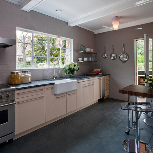 Inspiration For A Contemporary Slate Floor Kitchen Remodel In DC Metro With  A Farmhouse Sink And