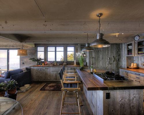rustic wood kitchen island | houzz