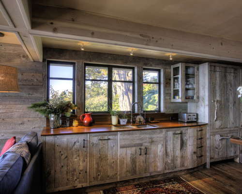 Exceptional Coastal Kitchen Photo In Santa Barbara With A Double Bowl Sink, Wood  Countertops And