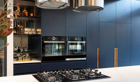 Room of the Week: Dark Blue and Metallics Make a Striking Kitchen