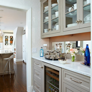This is an example of a transitional kitchen in New York.