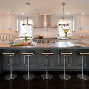 Kitchen Transitional U Shaped Idea In New York With Shaker Cabinets White