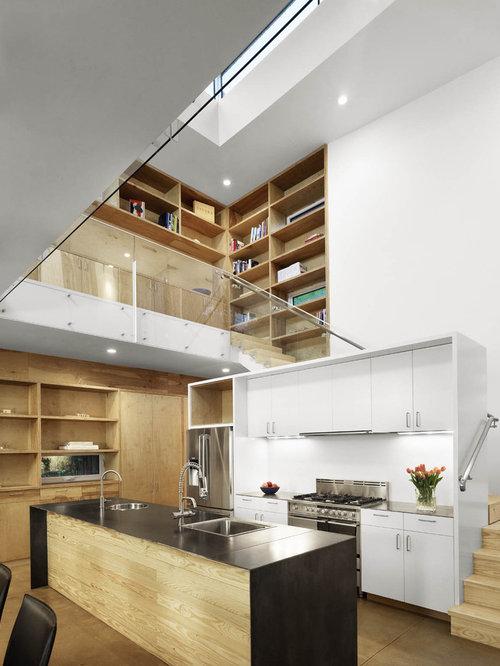 Mezzanine stair houzz - Modern kitchen below ...