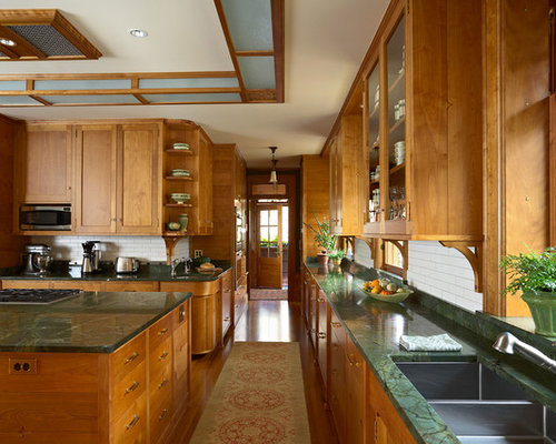 Example Of A Huge Arts And Crafts U Shaped Enclosed Kitchen Design In  Minneapolis With