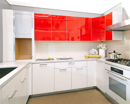 Kitchen with Red High-Gloss Cabinets