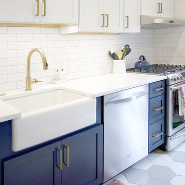 Denim Blue and White Recessed Cabinetry