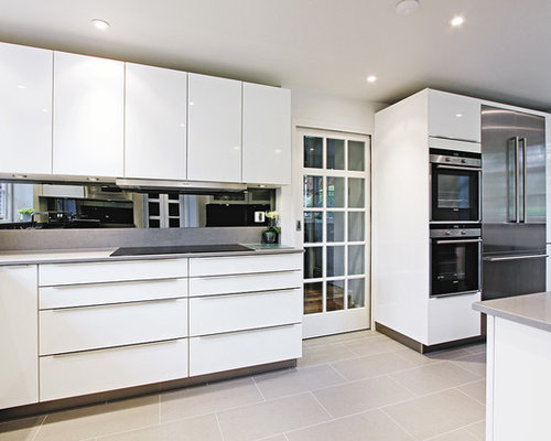 gray tile floor kitchen. Example of a trendy gray floor kitchen design in London with stainless  steel appliances Light Gray Tile Floor Houzz