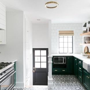 75 Beautiful Cement Tile Floor Kitchen With Black Appliances