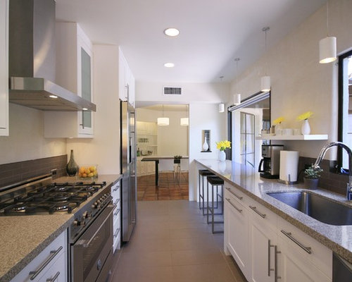 Galley Kitchen Designs With Breakfast Bar galley kitchen breakfast bar area granit | houzz