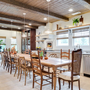 Inspiration for a huge country galley beige floor and travertine floor eat-in kitchen remodel in DC Metro with recessed-panel cabinets, white cabinets, stainless steel appliances, no island, an undermount sink, concrete countertops and gray backsplash