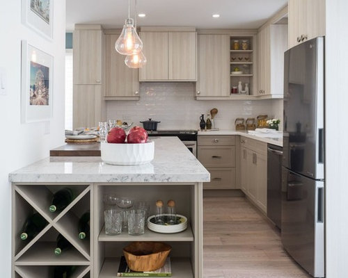 Transitional Kitchen Photos   Transitional L Shaped Light Wood Floor Kitchen  Photo In Toronto With