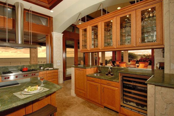 Beach Style Kitchen by Archipelago Hawaii Luxury Home Designs