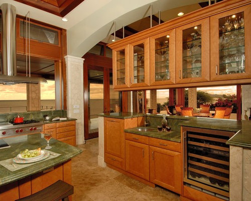 Rainforest green granite countertops home design ideas pictures remodel and decor for Hanging cabinet design for kitchen