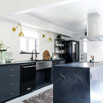 Designer Kirsten Grove's Dreamy Waxed Alberene Soapstone Kitchen