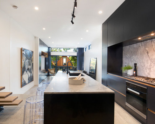 Inspiration For A Contemporary Galley Open Plan Kitchen In Sydney With An  Undermount Sink, Flat