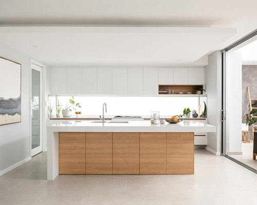 This Is An Example Of A Contemporary L Shaped Kitchen In Perth With An  Undermount