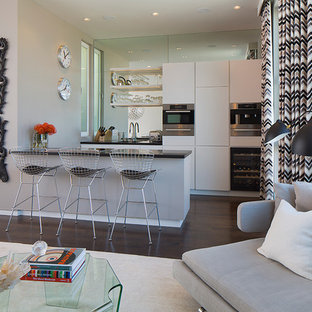 Trendy dark wood floor and brown floor open concept kitchen photo in San Francisco with flat-panel cabinets, white cabinets, mirror backsplash, a peninsula and stainless steel appliances