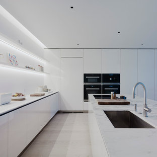 mid sized modern eat in kitchen pictures inspiration for a mid sized - Modern White Kitchen