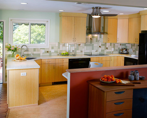 Houzz Eat-In Kitchen with Recycled Glass Countertops and Linoleum ...